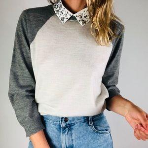 J CREW Convertable Jewel Collar Wool Sweater XL
